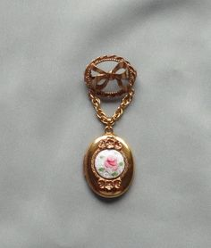 Vintage CORO Guilloche Enamel Pink Flower Dangling Locket Pin #Coro