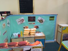 Fish and chip shop role play for EYFS topic Land Ahoy! Role Play, Pretend Play, Classroom Activities, Classroom Ideas, Kids Kitchen Accessories, Seaside Cafe, Roleplay Ideas, Fish And Chip Shop, British Seaside