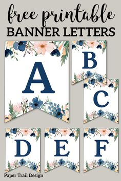 Blue & Pink Floral Banner Letters Free Printable – Paper Trail Design Christiana Keller A B C & Zahlen … Baby Shower Printables, Party Printables, Free Printables, Free Printable Party, Free Printable Banner Letters, Printable Paper, Free Printable Birthday Banner, Banner Template, Lila Party