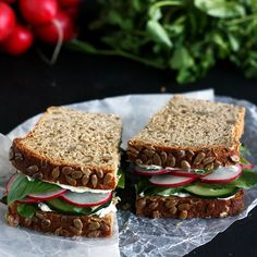 This is a recipe for the perfect healthy spring or summer sandwich. It doesn't get soggy and is ideal for picknicks and hot days since the ingredients are cooling foods.