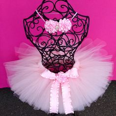 Baby Girl 1st Birthday Pink Tutu and Hair by TheFancyButterfly on Etsy, $33.00