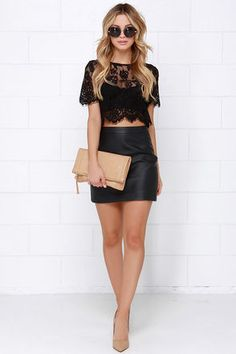 Glamorous Slowly but Sheerly Black Lace Crop Top at Lulus.com!