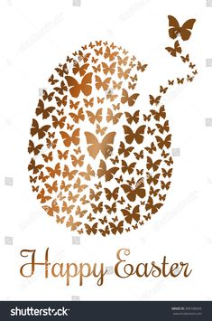 Gold Easter egg consists of flying butterflies isolated on a white background. Design element for Easter. Flock of butterflies in the shape of Easter egg. Butterfly Background, White Butterfly, Gold Easter Eggs, Easter Backgrounds, Royalty Free Photos, Happy Easter, Painted Rocks, Design Elements, Vector Free