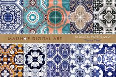 Digital Paper - Tavira Tiles by Maishop Digital Art on Creative Market