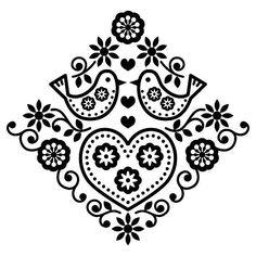 Folk art floral black vector pattern with birds vector art illustration Embroidery Designs, Folk Embroidery, Gravure Illustration, Art Et Illustration, Stock Illustrations, Arte Floral, Vector Pattern, Pattern Art, Free Pattern
