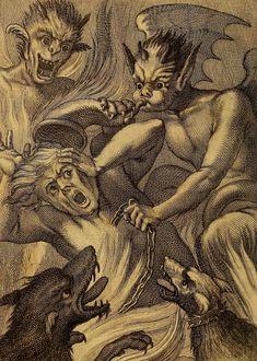 Alexandre Perier & Lourenço Morganti, Desenganno dos Peccadores, 1735 Arte Horror, Horror Art, Dance Of Death, Satanic Art, Arte Obscura, Demon Art, Occult Art, Angels And Demons, Old Art