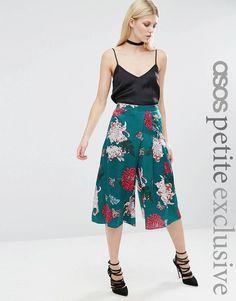 529564d154 Атласные укороченные брюки с японским цветочным принтом ASOS PETITE