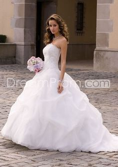 [$259.99] Organza Gathered Wedding Dress with Beaded Lace