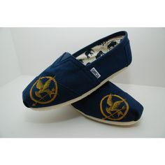 Hunger Games Custom Handpainted TOMs Shoes ($85) ❤ liked on Polyvore