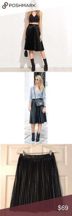 """NWOT- Banana Republic Faux Leather Pleaded Skirt Never worn! Pleated Skirt from banana republic in Faux Leather. Very versatile looks as you can see from the pictures. Can be dressed up or a causal look. I'm 5'1 and it falls a little below knee length on me. The length is approx 21"""" Waist is 26"""" .. extremely light indent from being on the hanger and never being worn. (Picture) Should come out over time but it is in Excellent condition.   *SMOKE FREE AND PET FREE HOME  *Extremely quick…"""