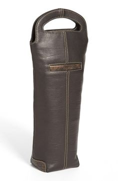 Men's BOCONI Leather Single Wine Carrier - Black