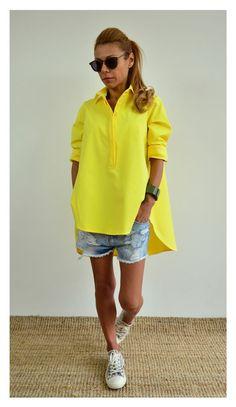 Maxi shirt / Loose top / Yellow oversize top /Maxi yellow top