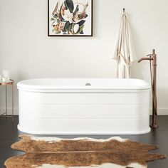 Buy the Signature Hardware 447284 White / Oil Rubbed Bronze Drain Direct. Shop for the Signature Hardware 447284 White / Oil Rubbed Bronze Drain Boleyn Cast Iron Soaking Tub with White Steel Skirt and Integrated Drain and Overflow and save. Pedestal Tub, Cast Iron Bathtub, White Polish, Sit Back And Relax, The Ranch, Polished Nickel, Brushed Nickel, It Cast, Hardware