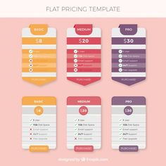 Price Template With Three Different Colors Free Vector  Chart