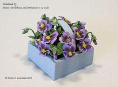 Dollhouse Miniature Flowers 112  Lilac Pansies in by mettelaurendz, €24.00