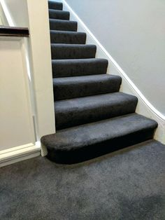 Best Dark Grey Carpet On Stairs Looks Good With White Treads 400 x 300