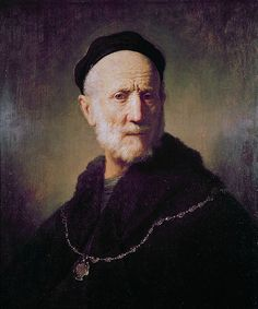 Bust of an Old Man. Busto de un hombre anciano. Rembrandt. 1631. Oil on panel. 59.9 X 51.2 cm. Private Collection.