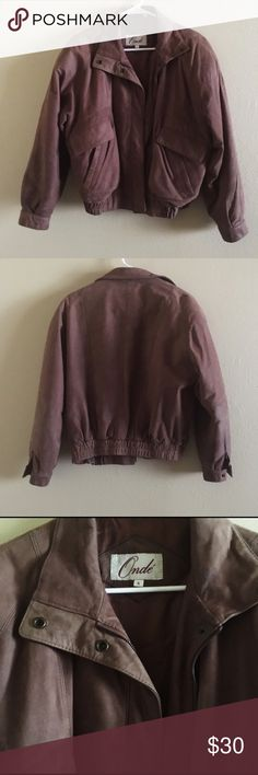 Brown Suede Bomber Jacket Pre-owned jacket with shoulder padding and warm interior. Some stains on the cuffs of the sleeves. Fits womens size M beautifully (originally Men's S), but I wore this as a S. Vintage Jackets & Coats