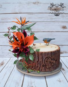 Tree slice cake featuring a gumpaste eastern bluebird and a cold porcelain tropical flower arrangement. Made by Deb Williams Cakes