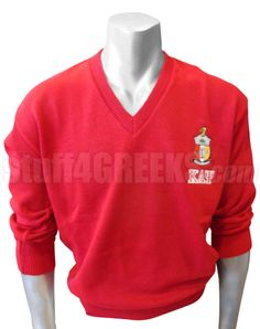 Kappa Alpha Psi V-Neck Sweater with Letters Under Crest, Red  Item Id: PRE-VSR-KAY-LTR_CREST_RED  Retail Price: $119.00  You Save: $20.00  Price: $119.00  Your Price:  $99.00