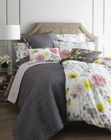 Gray and Floral Bedding
