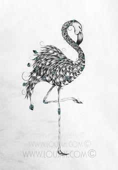 Poetic Flamingo by LouJah  #loujah #art #illustration #illustrations #draw #drawing #boho  #artwork #doodle #gypsy #hippie #gypsies #hippies #animal #animals  #flamingo #cute #summer  #bird #birds #feathers #feather #hippy #turquoise #bohemian #bohemien #boheme