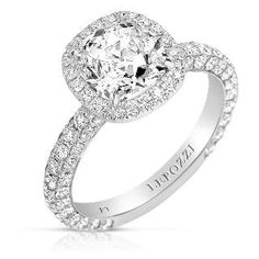 #engagementring with #antique #cushioncut center #diamond and triple sided #micropave band