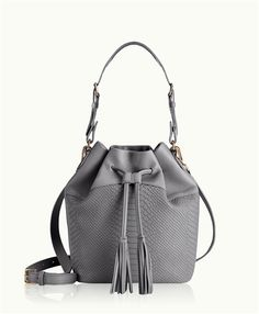 Slate Jenn Bucket Bag | Natural Grain and Embossed Python Leather | GiGi New York