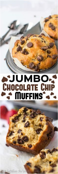 Chocolate Chip Muffins Massive, jumbo, bakery-style muffins brimming with chocolate chips!Massive, jumbo, bakery-style muffins brimming with chocolate chips! Muffin Recipes, Baking Recipes, Dessert Recipes, Best Muffin Recipe, Yummy Treats, Delicious Desserts, Yummy Food, Fun Food, Tasty