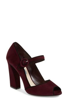 Free shipping and returns on Prada Mary Jane Peep Toe Pump (Women) at Nordstrom.com. Contrast trim highlights the stunning vintage silhouette of a lofty peep-toe pump set on a sculptural block heel and topped with a classic mary jane strap.