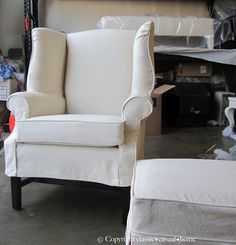 Wingback chair slipcover idea