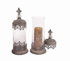 Glass and Metal Candle Holder with Lid