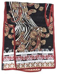 """Fashion FRAAS Burgundy PAISLEY Black Beige Hand Rolled Silk 55"""" Long Scarf Shawl #Fraas #Scarf #Casual Hand Roll, Long Scarf, Shawl, Paisley, Burgundy, Rolls, Textiles, Beige, Silk"""