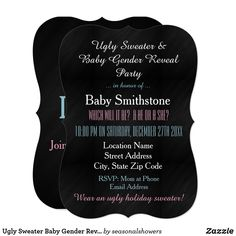 Ugly Sweater Baby Gender Reveal Invitation Gender Reveal Invitations, Custom Invitations, Invitation Design, Ugly Holiday Sweater, Ugly Sweater, Christmas Gender Reveal, Chalkboard Baby, Baby Gender Reveal Party, Holiday Party Invitations