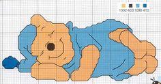 Winnie The Pooh a dormir Cross Stitch Cards, Cross Stitch Baby, Cross Stitch Alphabet, Cross Stitch Kits, Cross Stitching, Cross Stitch Embroidery, Disney Cross Stitch Patterns, Winnie The Pooh Friends, Cross Stitch Needles