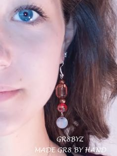 Copper and Amber colored Dangle Earrings, wedding, sweet 16, gifts under 20