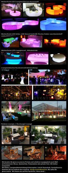 LOUNGE EVENTS - Mietmöbel Loungemöbel mieten LED Möbel Verleih Vermietung