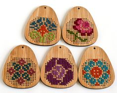 DIY Cross Stitch Necklace - Bamboo Pendant Blank - Teardrop. $12.00, via Etsy.