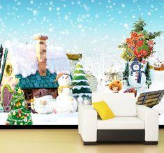 3D Lovely house snowman Wallpaper Wall Print Decal Wall Decor Indoor Murals