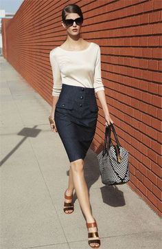Office look | Cream shirt, button up pencil skirt and strapped heels