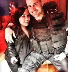 George Eads and Meredith Eaton on set of Macgyver season 2 George plays Jack Dalton and Meredith plays Matty Webber