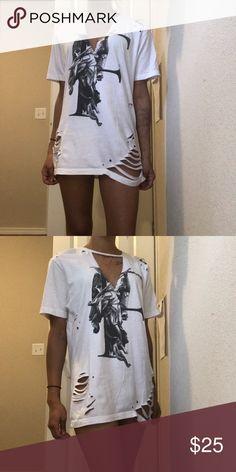 Distressed T-Shirt mini dress Custom made T-shirt mini dress -- not LF [can be distressed more if you would like just let me know! ] LF Dresses Mini