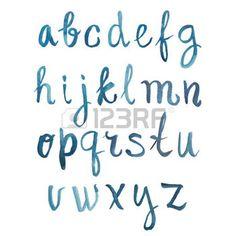 Colorful watercolor aquarelle font type handwritten hand drawn doodle abc alphabet letters vector. photo