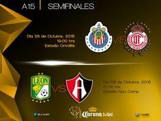DEFINEN HORARIOS DE SEMIFINALES DE COPA MX Chivas recibe a Toluca en el Omnilife a las 19:00 horas el próximo 28 de octubre. Los cuatro clubes lucharan por coronarse y obtener ese medio boleto para la Copa Libertadores de América 2017.