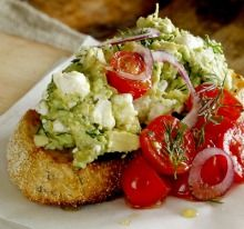 The FAT: Feta, avocado and tomato on toast.