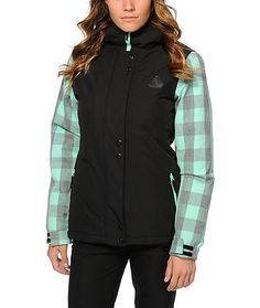 Get your style right from first chair to last in this black and mint buffalo plaid snowboard jacket made with a 10K water resistant exterior and poly insulated fill that will keep you warm and dry.
