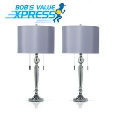 Set of 2 Double Pull Crystal Lamps