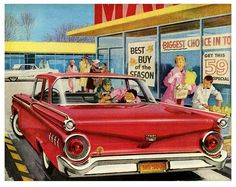 Loading the car after the weekly shopping trip. #vintage #1950s #supermarket