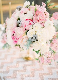 Pink and Gold + Chevron   #Centerpiece  