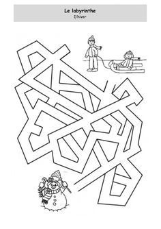 Fiche d'activité niveau maternelle - Janvier en blanc - Le labyrinthe Activity Sheets For Kids, Mazes For Kids, Winter Activities For Kids, Maze Worksheet, Worksheets, Maze Puzzles, Hidden Pictures, Pre School, Line Drawing